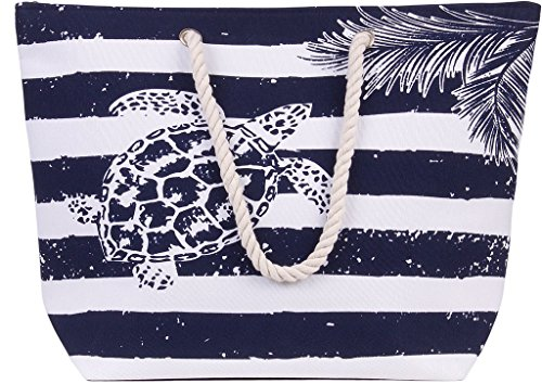 Tote Bag Turtle - Large Canvas Beach Bag - Perfect Tote Bag For Holidays (Blue turtle)