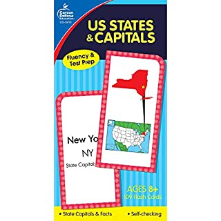 Carson Dellosa | US States and Capitals Flash Cards | Ages 8+, 109ct