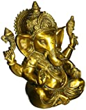Aone India Large Ganesh Idol Figurine Elephant God Statue Showpiece Antique Finish Sculpture - Brass Ganesha + Cash Envelope (Pack Of 10)