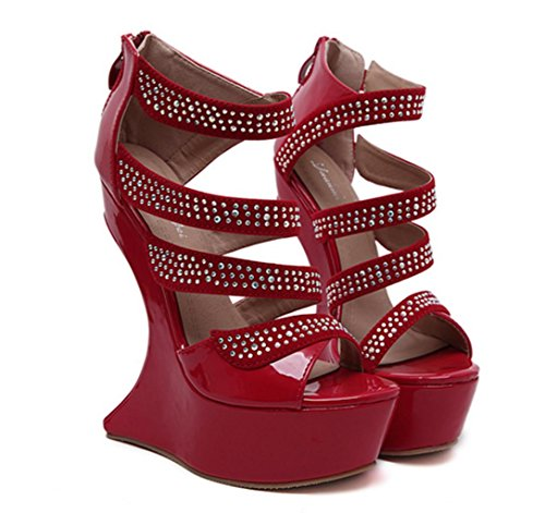 HETAO Personality Ladies High Heel Platform Party Wedding Peep Toe Wedge Shoes Size Rhinestones Muffled Open Toe Flowers Hollow Womens Sandals Girl's Gift Red o3kufH5z9O