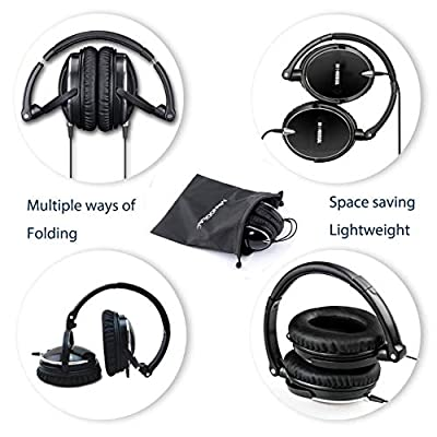 Active Noise Cancelling Headphones with Mic, MonoDeal Over Ear Deep Bass Earphones, Folding and Lightweight Travel Headset with Carrying Case - Black