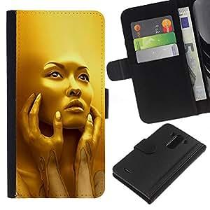 KLONGSHOP // Tirón de la caja Cartera de cuero con ranuras para tarjetas - Rostro de mujer joven Moda Bling - LG G3 //