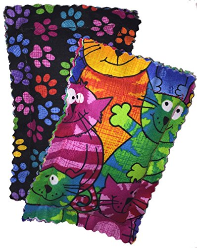 Johnson Pet Products Catnip Pillows Two Pack Crazy Cat II - Handmade in the USA - Colorful Catnip Sack