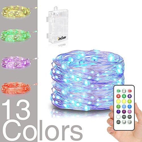 Homestarry LED String Lights,Battery Powered Multi Color Changing String Lights With Remote,50leds Indoor Decorative Silver Wire Lights for Bedroom ,Patio,Outdoor Garden,Stroller,Christmas Tree.(16ft) - Led Christmas Lights Battery