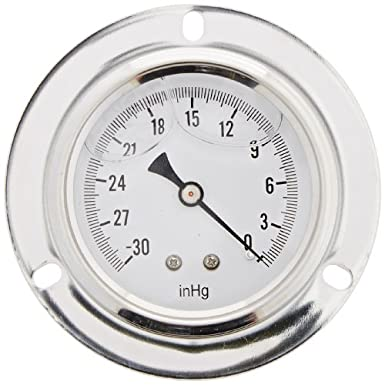 Front Flanged Panel Mount Single Scale Glycerine Filled Pressure Gauge with a Stainless Steel Case Brass Internals 0//60 psi Range PIC Gauge S204L-254D 2.5 Dial 1//4 Male NPT Connection Size and Polycarbonate Lens PIC Gauges Stainless Steel Bezel