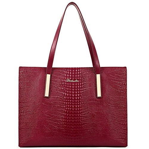 BOSTANTEN Women Leather Handbags Tote Purses Satchel Shoulder Bags on Sale Wine Red