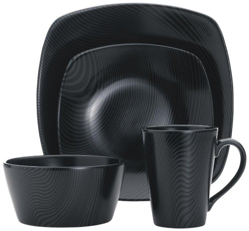 Noritake 4-Piece Square Black on Black Place Setting, Dune For Sale