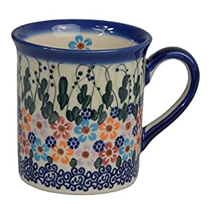 Traditional Polish Pottery, Handcrafted Ceramic Funnel-shaped Mug (300ml / 10.5 fl oz), Boleslawiec Style Pattern, Q.301.DAISY