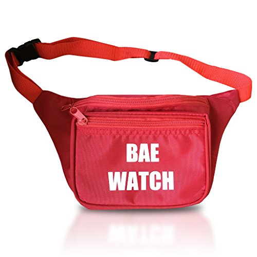 Price comparison product image Bae Watch Water Resistant Lifeguard Red Fanny Pack - Multiple Sizes Waist Pack Bum Bag