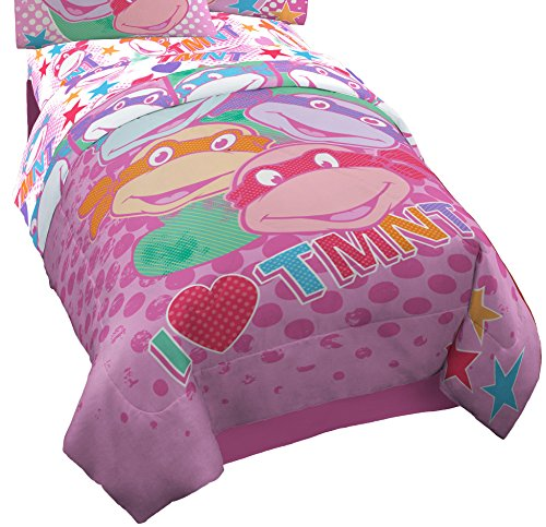 Nickelodeon Teenage Mutant Ninja Turtles I Love TMNT Reversible Comforter for Girls, Twin Pink -