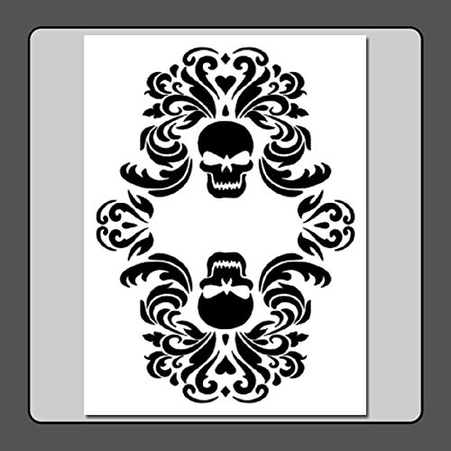 9 X 12 inch Gothic Double Skull Damask Stencil Template -
