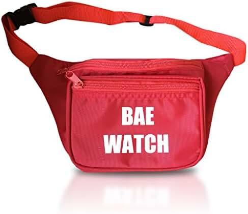Fun Fanny Pack (Neon, Party, Bae Watch, Squad, Pink, USA) 3 Zipper Waterproof Waist Pack Bum Bag For Women and Men