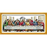 """Labellevie DIY printed Cross Stitch,Sets For Embroidery Kits, The Last Supper Pattern Counted Cross-Stitching Crafts 39.76""""×18.90"""" (101cm×48cm)"""