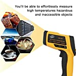 Jklnm LED Infrared Thermometer Non-Contact Mini IR Temperature Adjustable Emissivity with LCD Display Instant-Read Temperature Range Alarm for Cooking/BBQ/Freezer