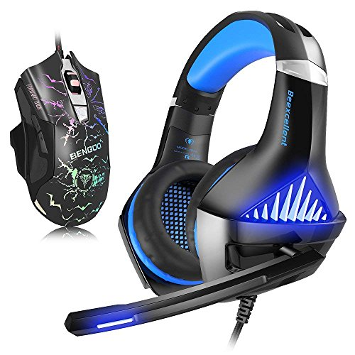 BENGOO Gaming Headset with Mouse, Stereo Gaming Headset for Xbox One, PS4, PC, Noise Cancelling Over Ear Headphone with Mic, LED, 3200 DPI Wired Ergonomic Gaming Mouse, 3 adjustable DPI with 6 button