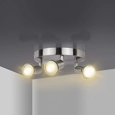 Led Plafondlamp Roteerbaar 3 Weg Ronde Plaat Led Plafond Spot Lights 300lm 3000 K Warm Wit 3x4w Gu10 Led Lampen Inbegrepen Led Plafond Lamp Voor Keuken Woonkamer Energie Klasse A Amazon Nl