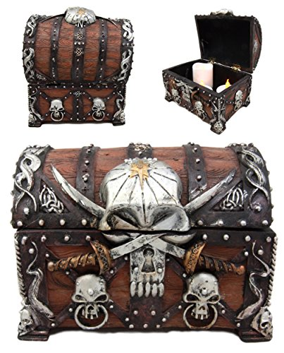 Atlantic Collectibles Caribbean Pirate Haunted Skull With Crossed Dagger Blades Treasure Chest Box Jewelry Box Figurine 5