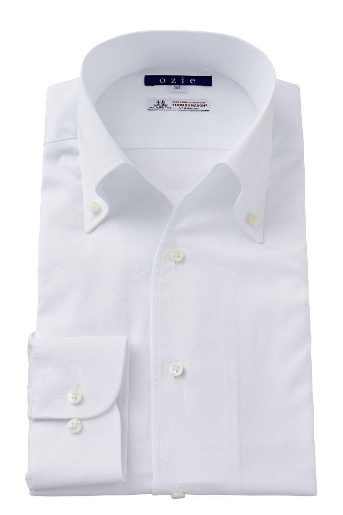 (オジエ) ozie ワイシャツ メンズ タイトフィット イタリア製生地 プレミアムコットン100番手双糸 イタリアンカラー ボタンダウン スキッパー 第一ボタン無し 日本製 B01N7BUQH6 4L-4786|ホワイト ホワイト 4L-4786