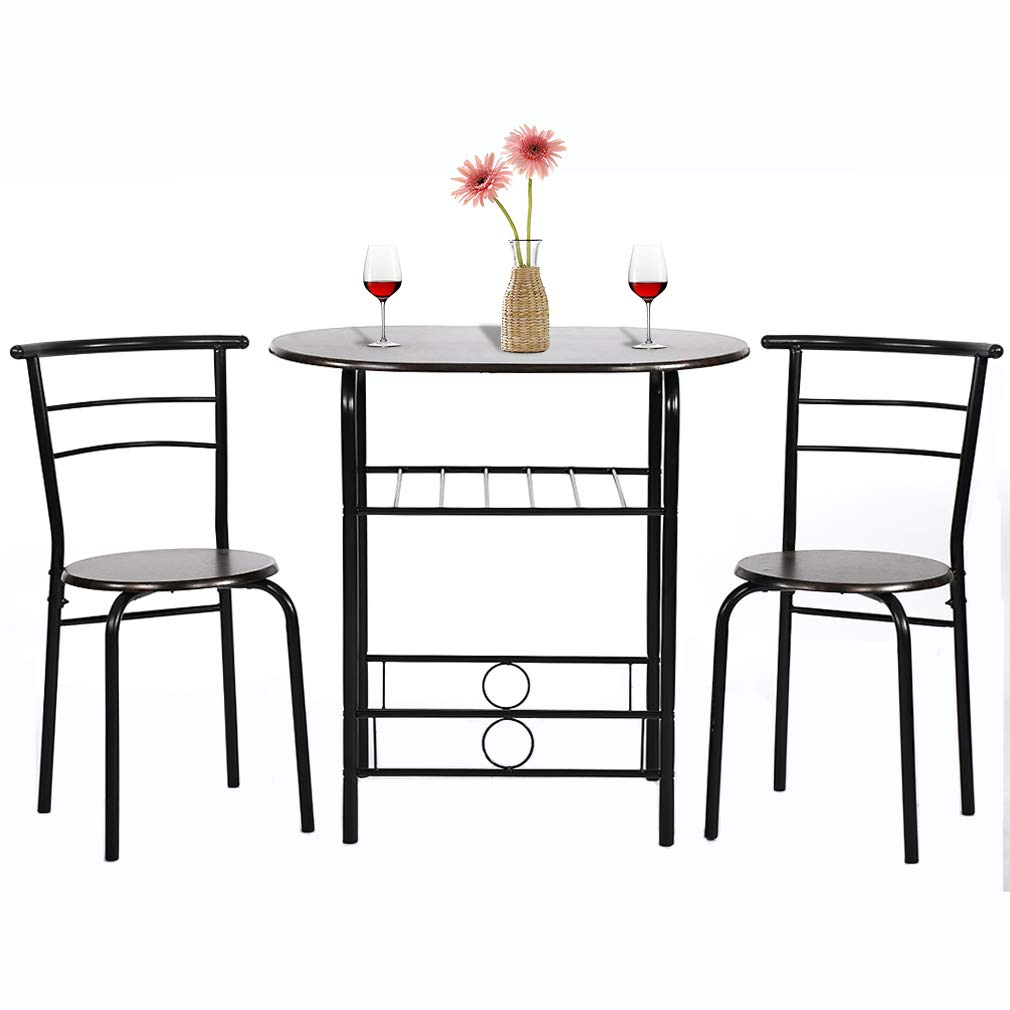 Dining Kitchen Table Dining Set Bar Breakfast Metal Frame 3 Piece Dining Room Table Set Table and Chair with 2 Chairs by FDW
