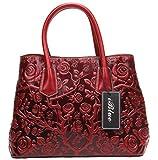 Iblue Women Leather Satchel Handbag Embossed Rose Top Handle Designer Bag #W236