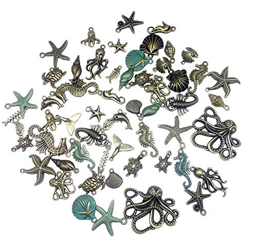 - 60pcs/lot Antique Bronze Silver Marine Life Seashell Starfish Charms /3D Pineal Fruit Acorn Nut Charms Pendants for Crafting, Jewelry Findings Making Accessory for DIY Necklace Bracelet (Style2)