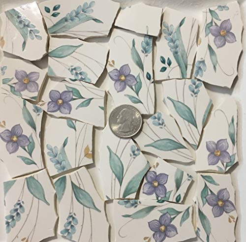 Mosaic Art & Crafts Supply ~ Purple Flowers & Green Leaf Tiles (B804) ()