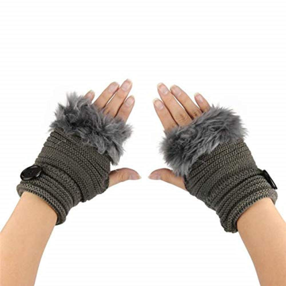 GOVOW Clearance Sale!New Fingerless Gloves Winter Hand Warmer Gloves Washable