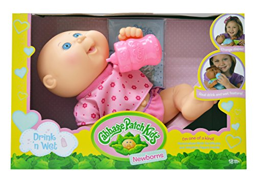 Cabbage Patch Kids, Drink N' Wet Newborn Baby Doll - Baby Girl in ''Purple Butterflies'' Fashion by Cabbage Patch Kids