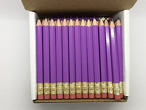 Purple Golf Arch - Half Pencils with Eraser - Golf, Classroom, Pew, Short, Mini - Hexagon, Sharpened, Non Toxic, 2 Pencil, Color - Lilac (Box of 48) Purple Golf Pocket Pencils