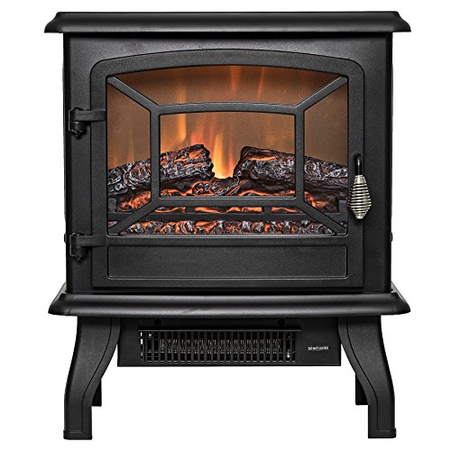 "Firebird 17"" Adjustable 2 Setting Freestanding Portable Tempered Glass Electric Fireplace Stove Heater (Black)"