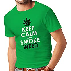 T shirts for men Keep Calm and Smoke - Marijuana Leaf Weed Smoker (Large Green White)