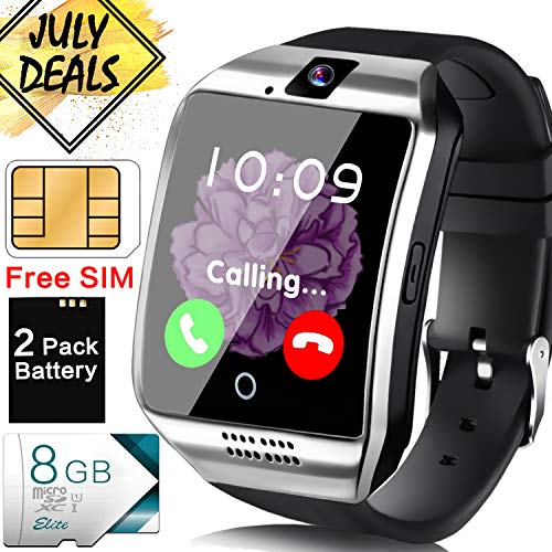 [Free SIM Card + 8GB TF ] Smart Watch for Men, Business Android Phone Smartwatch with Two-Way Call Music Player Camera Sync Function, Full Touchscreen Unlocked Sport Wrist Watch Prime Discount Gifts