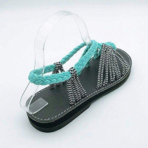Plana de Sandalias de de de de de Las Trenzada Dedo Cuerda Mujeres de Bohemia Plataforma Verano de Playa Verde Sandalias Zapatos Clip Boho de Sandalias de Sandalias Dedo rXrwBFq67