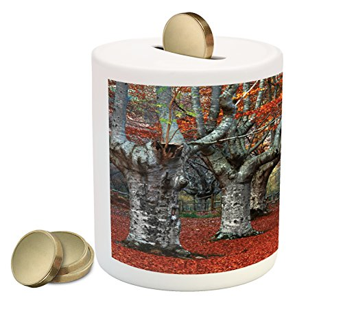 Seasons Piggy Bank by Ambesonne, Dreamy Gated Beech Trees Forest with Fall Leaf Mother Earth Natural Wonders Theme, Printed Ceramic Coin Bank Money Box for Cash Saving, Grey (Beech Tree Leaves)