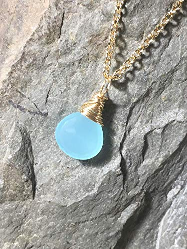 Aqua Blue Chalcedony Necklace Gold Fill Gemstone Pendant Length 18 inches
