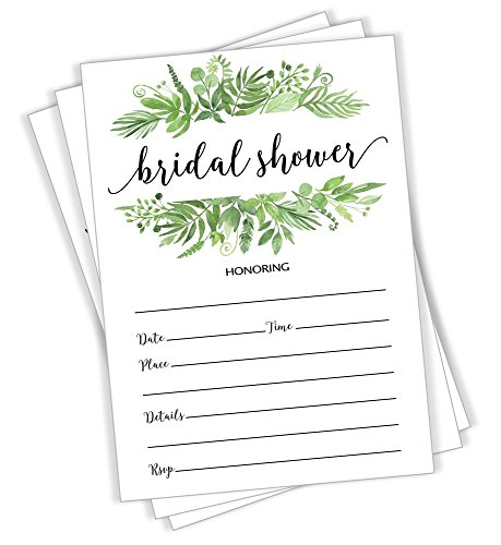 (50 Greenery Bridal Shower Invitations and Envelopes (Large Size 5x7) - (50 Count))