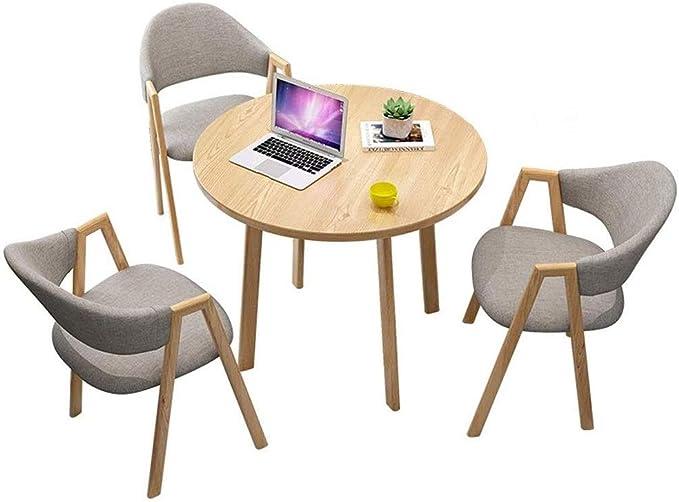 RANRANJJ Mesa y 4 Juego de sillas, muebles de cocina moderna Ronda de Soild Madera mesa de asiento del sofá Cafe Ministerio del Interior Cocina Sala de juegos al aire libre Bar
