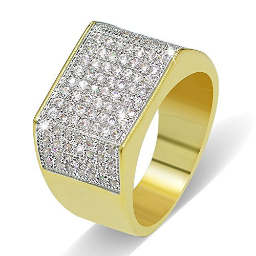 JINAO 18k Gold Plated Hip Hop ICED Out Square Bling Ring (10) (Rings Costume Gold Mens)