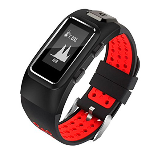 Auntwhale IP68 Waterproof Smart Band Android,IOS,GPS,Information Push, Heart Rate Monitoring, Pedometer, Sleep Monitoring - Red by Auntwhale
