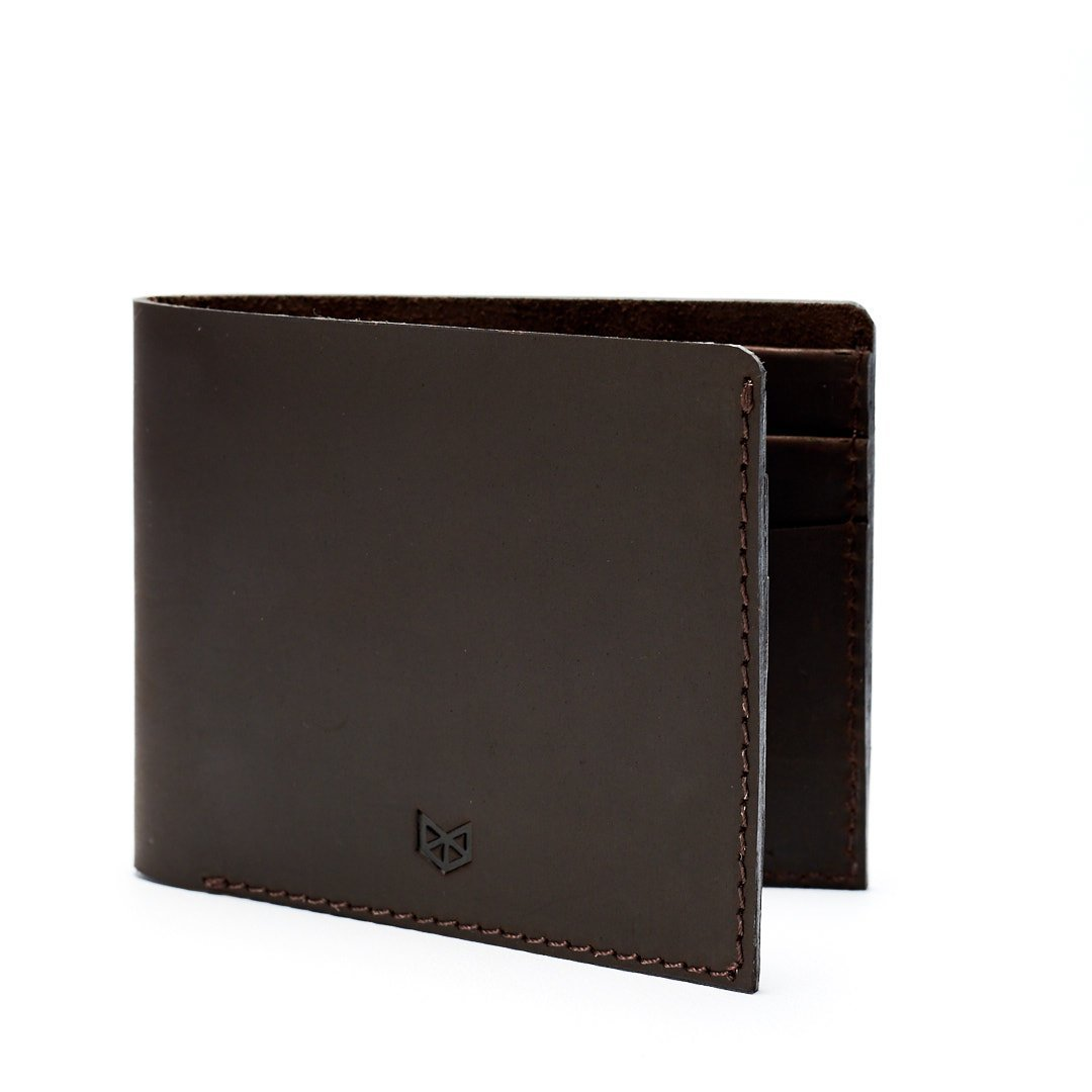 Dark Brown Leather Slim Wallet, Minimalist Wallet, Mens Bifold, Handmade Card Wallet, Business Wallet with Soft Interior. Custom Monogrammed Gifts