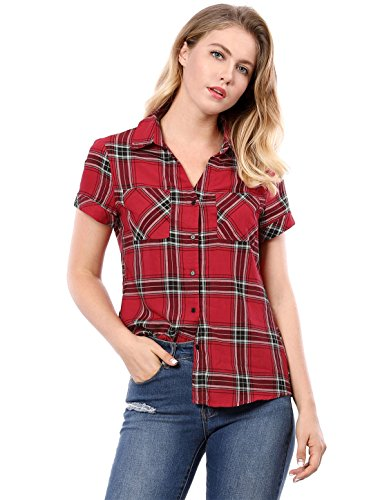 Allegra K Women's Casual Boyfriend Plaid Button Down Shirt L Red