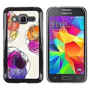 "Pulsar Snap-on Series Teléfono Carcasa Funda Case Caso para Samsung Galaxy Core Prime / SM-G360 , Floral de la acuarela Pintura púrpura verano"""