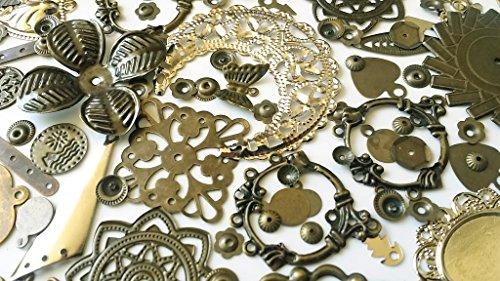 50g Assorted Bronze Jewelry Making Scrapbook Findings- (Scrapbook Metal Charms)