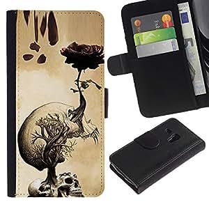 APlus Cases // Samsung Galaxy S3 MINI NOT REGULAR! I8190 I8190N // Rose de los cráneos Brain Roots Arte Dibujo // Cuero PU Delgado caso Billetera cubierta Shell Armor Funda Case Cover Wallet Credit Card