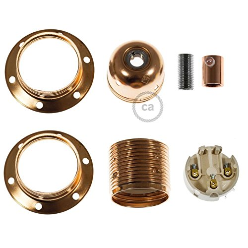 Creative - Cables Metal Socket Color Copper E26, Double Ferrule + Cylindrical Cable Retainer