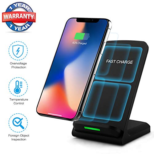 Wireless Charger, Qi-Certified 10W Wireless Charging Pad Stand Compatible iPhone XR/XS Max/XS/X, Samsung Galaxy S10/S10 Plus/S9/S9 Plus/Note 9 and All QI-Enabled Phones (No AC Adapter)