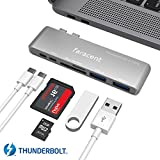 MacBook Pro USB C hub, Faracent Thunderbolt 3 hub with 40Gbps Thunderbolt 3,USB C Port,SD/TF Card Reader,2 USB 3.0,Pass Through Charging for New 13'' 15'' MacBook 2016/Google Pixel and More (Silver)