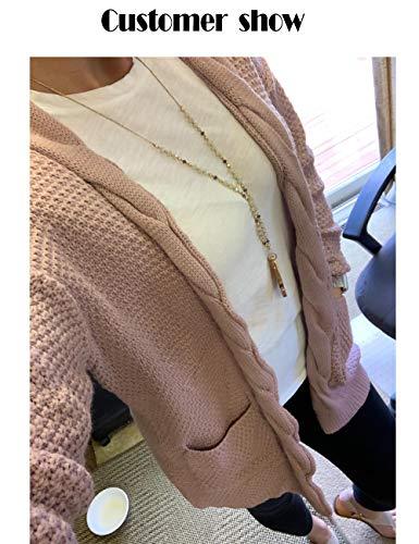Traleubie Women's Open Front Long Sleeve Soft Classic Knit Cardigan Pink M