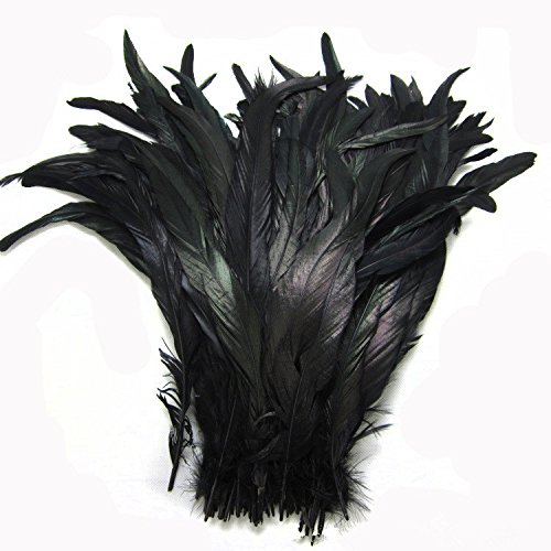(KOLIGHT Set of 50pcs 14~16inch Natural Rooster Coque Tail Feathers for DIY Home Wedding Party Office Decoration (Black) )