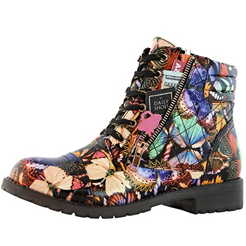 High Butterfly Card Pu Buckle Women's DailyShoes Military Exclusive Ankle Up Credit Pocket Boots Combat Bold v01aOqw